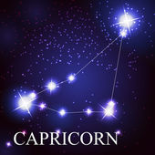 Capricorn zodiac sign of the beautiful bright stars — Vector de stock