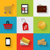 Shopping Flat Icons Set Vector Illustration — Stock Vector