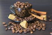 Coffee Beans, Pots, Cinnamon — Stock Photo