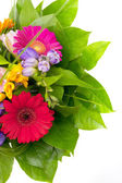 Colorful flowers bouquet isolated on white background. — Photo