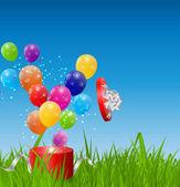 Glossy Balloons on Drass Field Vector Illustration — Stock Vector