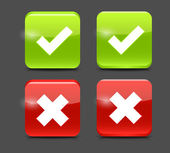 Vector Red and Green Check Mark Icons — Stock Vector