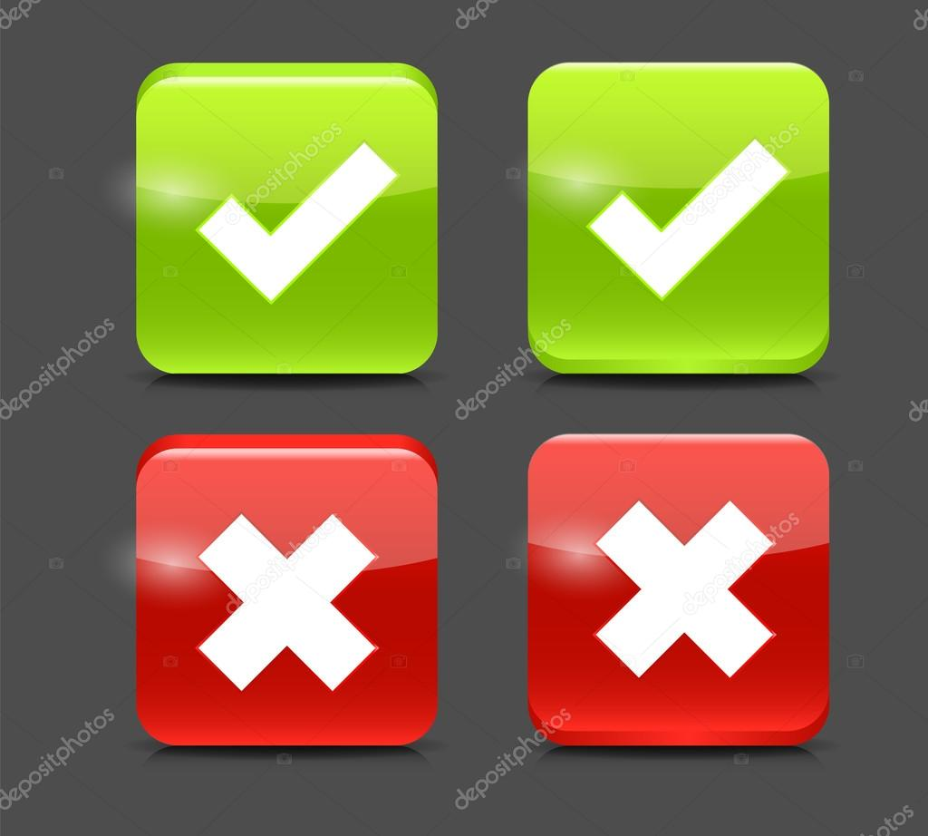 Red X Green Check Icon Vector red and green check mark icons - stock    X And Check Icon
