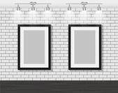 Quadro na parede de tijolo para o seu texto e imagens — Vetor de Stock