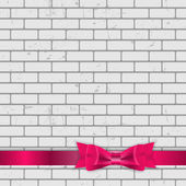 Background of Brick Wall Texture with Bow and Ribbon — Stockvektor