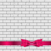 Fundo da parede de tijolo textura com arco e fita — Vetorial Stock