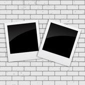 Instant Photos on Grunge Brick Background Vector Illustration — Stock Vector