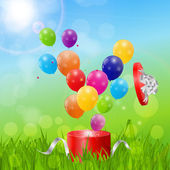 Color Glossy Balloons Birthday Card Background — Vector de stock