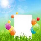 цветные глянцевые шары фон карты рождения — Cтоковый вектор