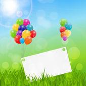 Color brillantes globos fondo tarjeta de cumpleaños — Vector de stock