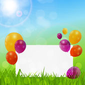 Color Glossy Balloons Birthday Card Background — Stockvektor
