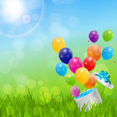 Color Glossy Balloons Birthday Card Background — Vetorial Stock