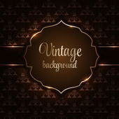 Vintage background with golden frame vector illustration — Cтоковый вектор