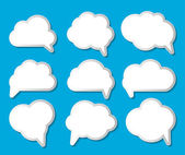 Set of Cloud Shaped Speech Bubbles Vector Illustration — Stock Vector