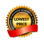 Lowest Price Guarantee Gold Label Sign Template — Vector de stock