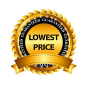 Lowest Price Guarantee Gold Label Sign Template — Stock Vector