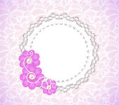 Romantic Flower Frame Vector Background — Stok Vektör