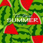 Abstract Natural Summer Background with Watermelon. Vector Illus — Vecteur