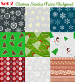 Winter Christmas New Year Seamless Pattern Set Vector Illustrati — 图库矢量图片