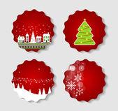 Sada štítků s vánoční koule, hvězdy a vločky, ilustr — Stock vektor
