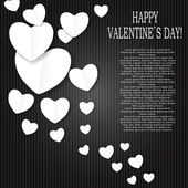 Valentines Day Paper Heart Backgroung, Vector Illustration — Stock Vector