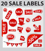 Labels Set 20 Sale. Vector Illustration — Stock Vector