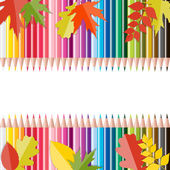 Back to School Background with Leaves and Pencils. Vector Illust — Stock Vector