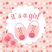 Vector Illustration of Pink Baby Shoes for Newborn Girl — Stock Vector