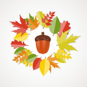 Acorn with Leaves Vector Autumn Illustration — Stock Vector