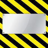 Metal frame on warning stripe background — Stock Vector