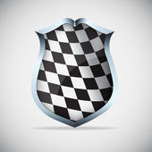 Shield with checkered flag — Stock Vector