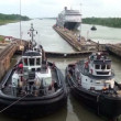 Ships waiting in front Gatun Lock (Panama Canal) — Stock Video