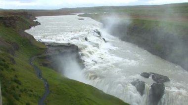 Islandia-golden circle - gullfoss - oro cae — Vídeo de Stock