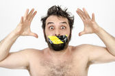 Man Scared With Tape Over His Mouth — Stock Photo