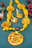 Yellow Tagua Nut Jewelry Set — Stock Photo