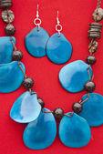 Ensemble de bijoux bleu tagua noix — Photo