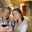 Couple of winemakers tasting red wine - Stock Photo