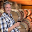 Stock Photo: Smiling winemaker standing in wine cellar with glass