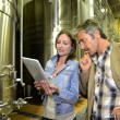 Winemaker with client in winery looking at electronic tablet — Stock Photo