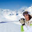 Portrait of womat mountain in ski outfit — Stock Photo #13931814