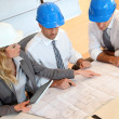 Architects and businesswomen working on construction project — Stock Photo