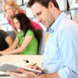Portrait of office worker with tablet — Stock Photo #13932329