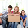 Stock Photo: Family moving in new house