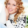 Portrait of beautiful blond woman with wool sweater — Stock Photo