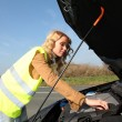 Stock Photo: Womchecking on car engine breakdown