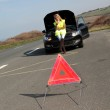 Warning triangle set on the road by broken down car — Stock Photo #13932982
