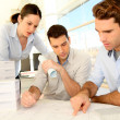 Team of architects working on project — Stock Photo