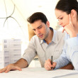 Young architects in business meeting — Stock Photo
