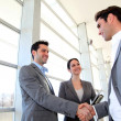 Business partners shaking hands in meeting hall — Stock Photo #13933779