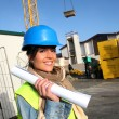 Portrait of smiling architect on building site — Stock Photo #13934827